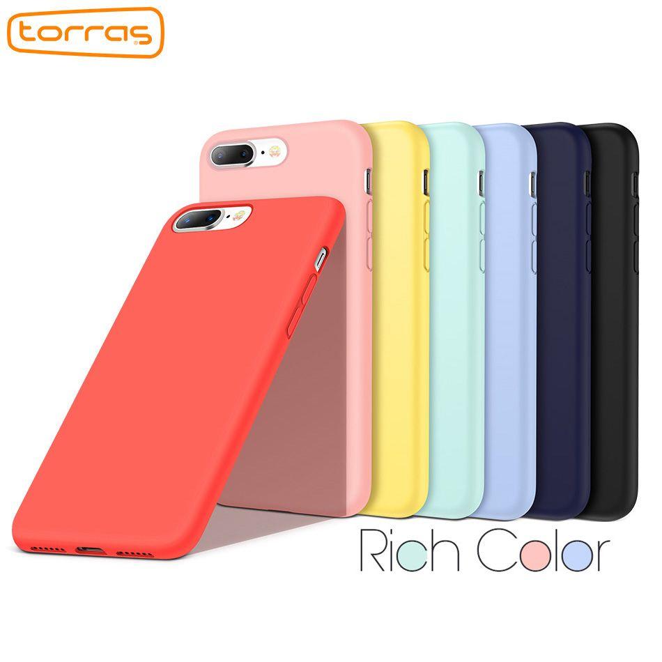 Torras Luxury Original Silicone Case for iPhone 8 8 Plus 7 7plus X Protective Phone Case for Apple Microfiber Phone Cover Coque