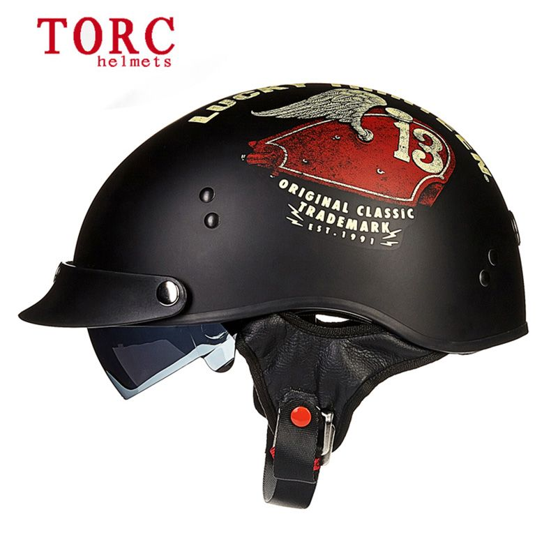 Electric Bicycle TORC T55 Vintage Half Face Motorcycle Helmet Casco Casque Moto For Harley Retro DOT Electric motorcar Helmets