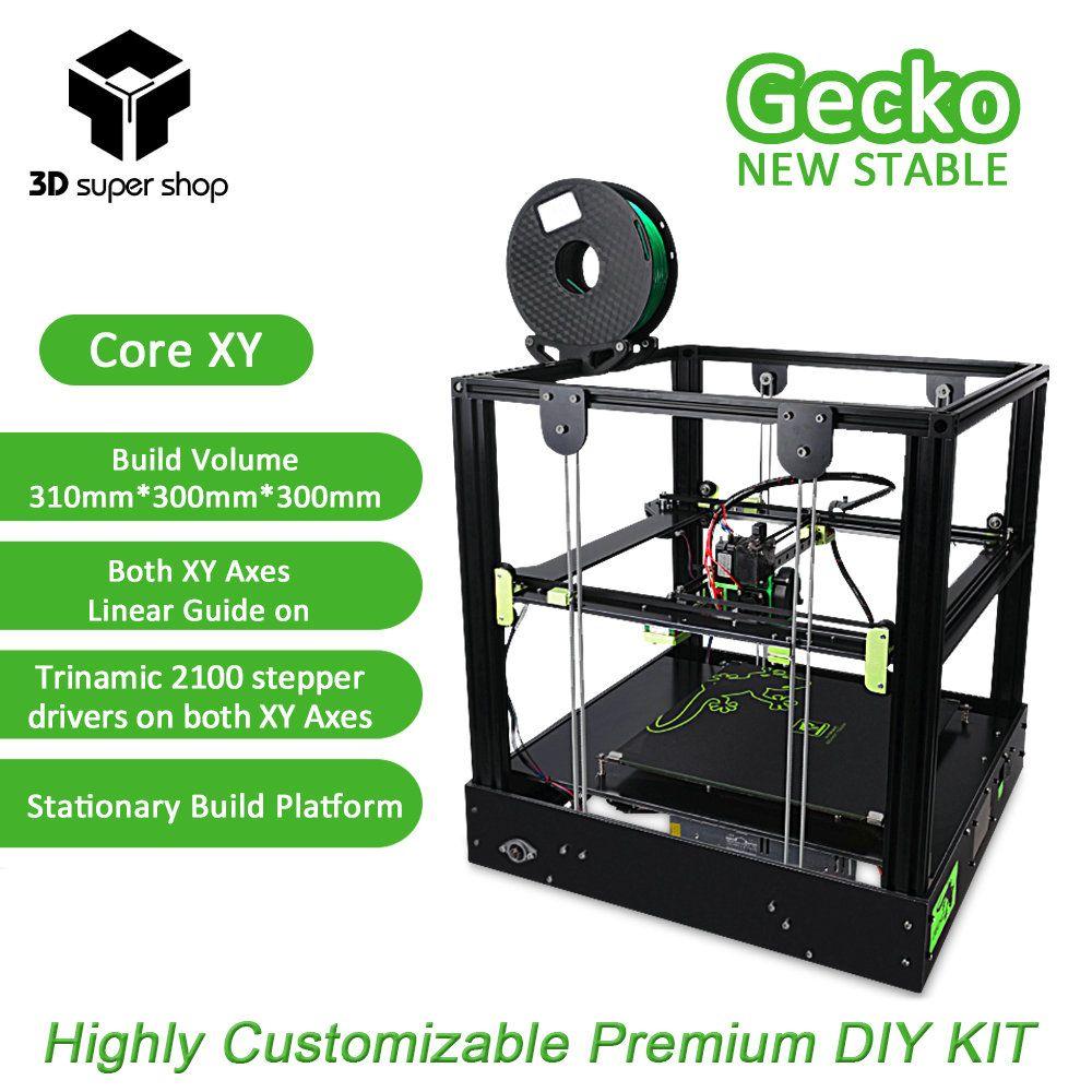 3D Gecko Core XY 3D Drucker Struktur DIY Kit mit wärme bett große druck größe mit klon Titan extruder Drucker