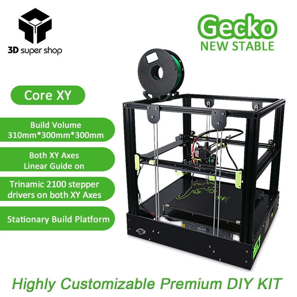 3D Gecko Core XY 3D Printer Structure DIY Kit with heat bed large print size with clone Titan extruder Printers