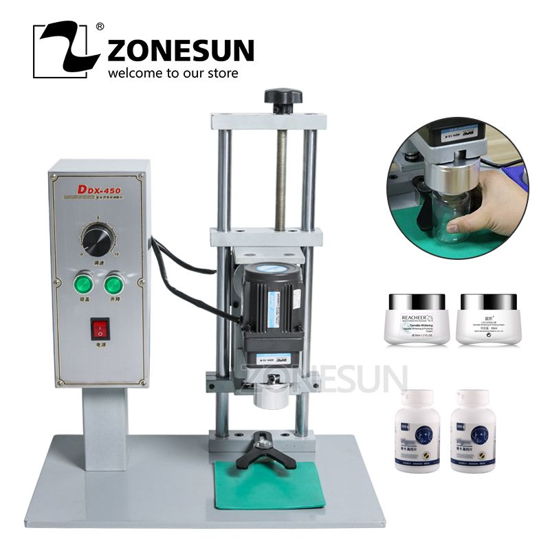 ZONESUN Semi-Auto Capping Machine Electrical Desktop Cap Screwing Machine 10-50 mm Caps Perfume Collar Ring Tobacco Tar Bottle