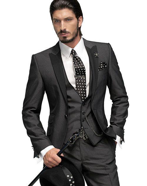 2016 New Two buttons Notch Lapel Groom Tuxedos Groomsmen Men's Wedding Suits (Jacket+Pants+Vest+Tie)