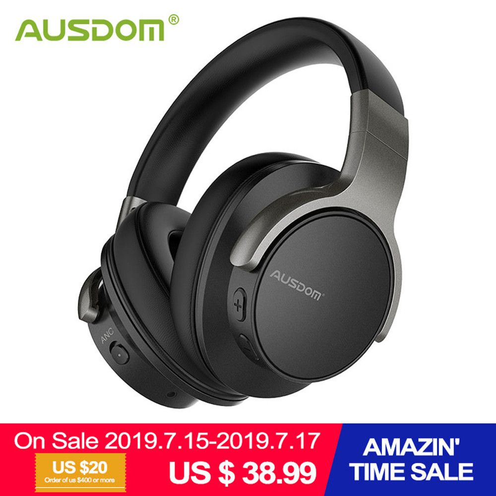 Ausdom ANC8 Active Noise Cancelling Wireless Headphones Bluetooth Headset with Super HiFi Deep Bass 20H Playtime for Travel Work