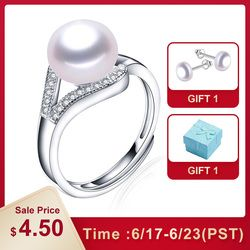 Lindo 100% real freshwater pearl ring for women 925 sterling silver adjustable ring big size 10mm AAAA natural pearl jewelry