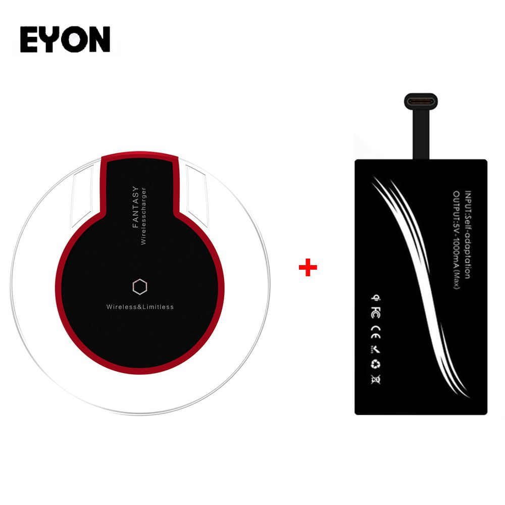 EYON Universal Type-C Qi Wireless Charging Receiver+Pad for HUAWEI P9 Honor 9 Xiaomi Mi6 5 Plus Note 2 4S Nexus 6P Oneplus 2 3
