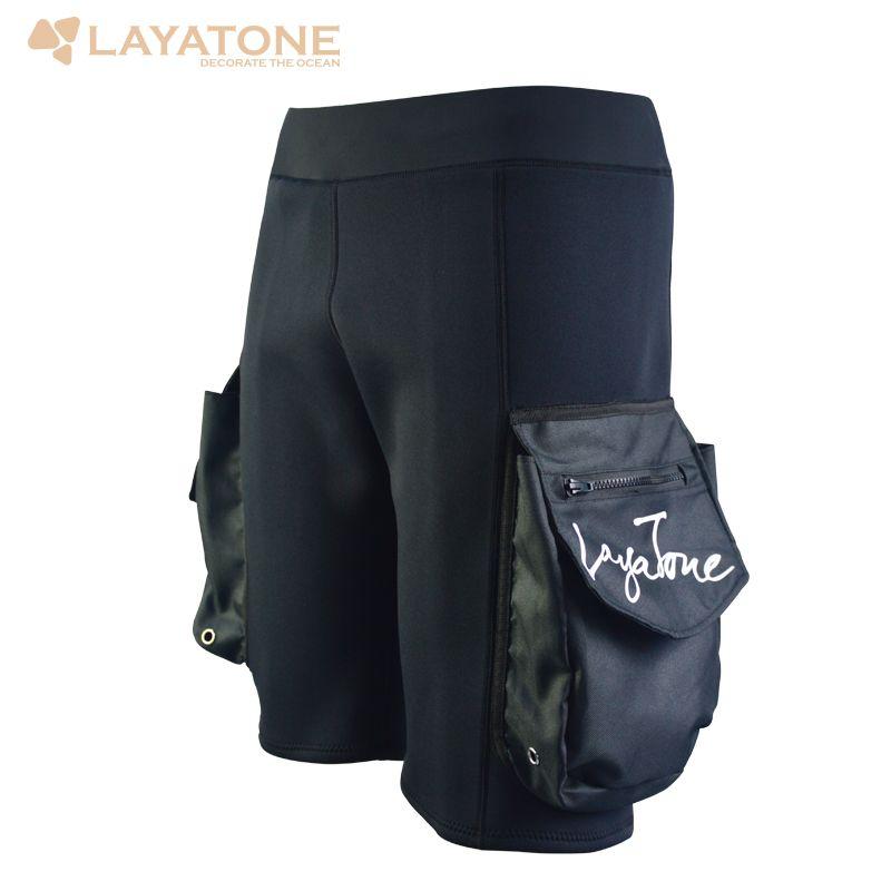 Freeshipping Layatone Black 3mm Neoprene Tech Shorts Snorkeling Scuba Diving Equipment Surfing Short Pocket Pants Wetsuit