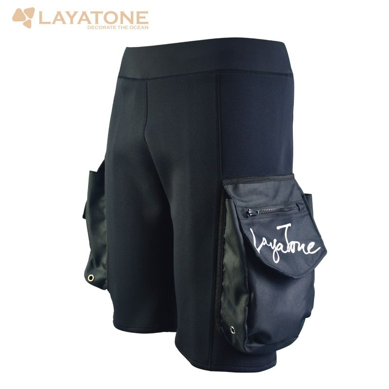Freeshipping Layatone Black 3mm Neoprene Tech Shorts Snorkeling Scuba Diving Equipment Surfing Short Pocket Pants Wetsuit