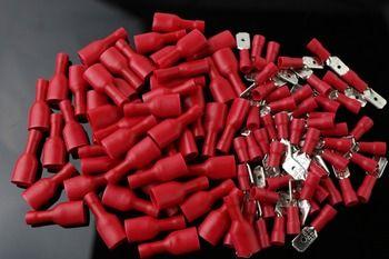 50 pcs rouge plat FDFD Femme + Homme Spade Isolé Câblage Électrique À Sertir Terminal Connecteur rouge