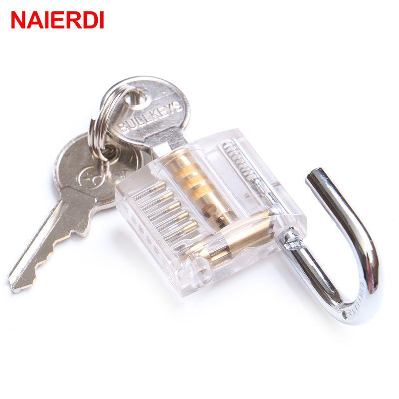 NAIERDI Transparent Locks Pick Visible Cutaway Mini Practice View Padlock Hasps Training Skill For Locksmith Furniture Hardware