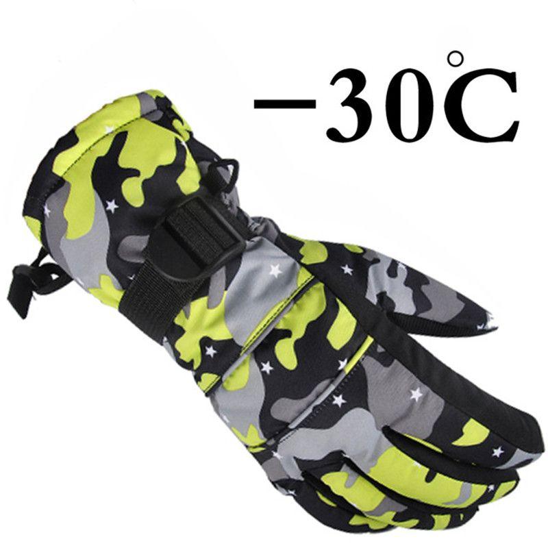 2017 new winter-winddicht außen Sport Ski Handschuhe kinder Atmungsaktive Camouflage Snowboard Handschuhe winter warme thermal schnee handschuhe