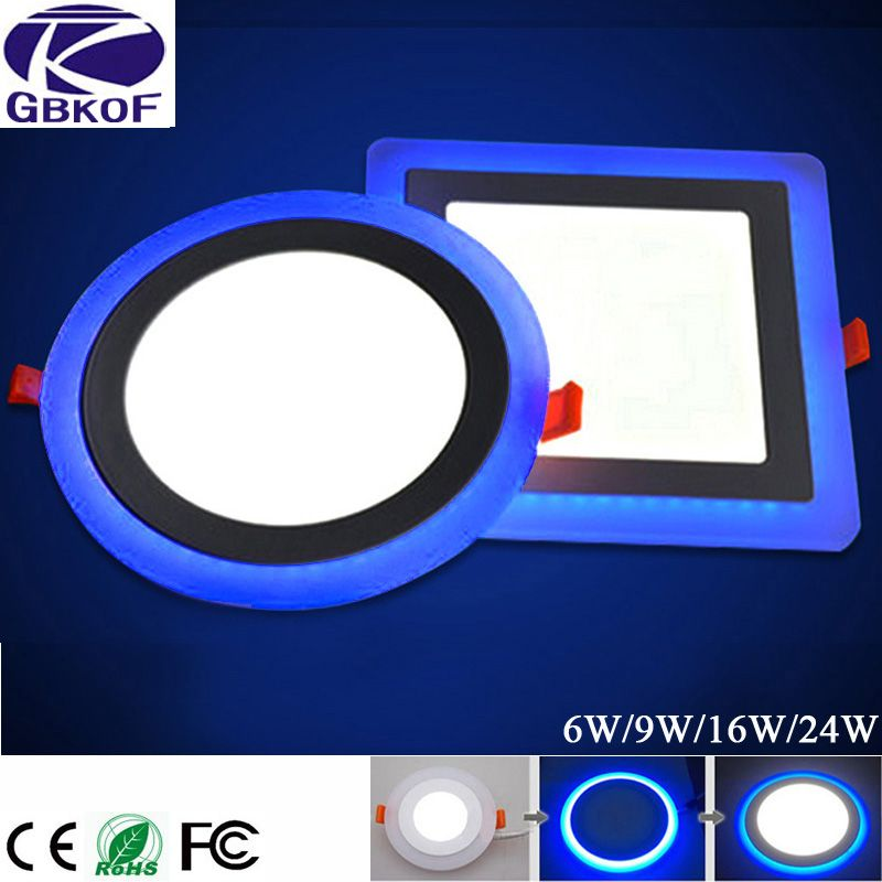 GBKOF 6W 12W 16W 24W led Ceiling Recessed panel Light Painel lamp decoration round square Led Panel Downlight Blue+White 2 color
