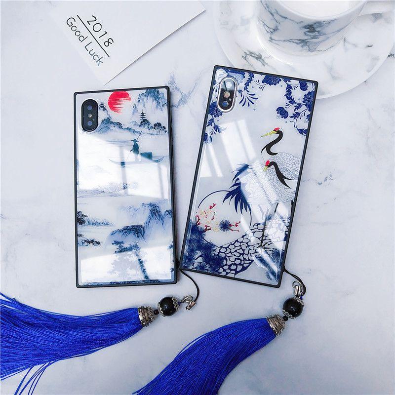 Pour iPhone XS Max 10 S Xr X 8 7 Plus étui chinois bleu-blanc porcelaine verre trempé couvercle sangle pour Apple X S R coque pare-chocs