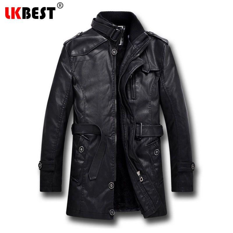 LKBEST 2017 Men Long Leather Jacket Winter Black Thick winter jacket men Casual Motorcycle Jacket Brand mens overcoat (PY06)