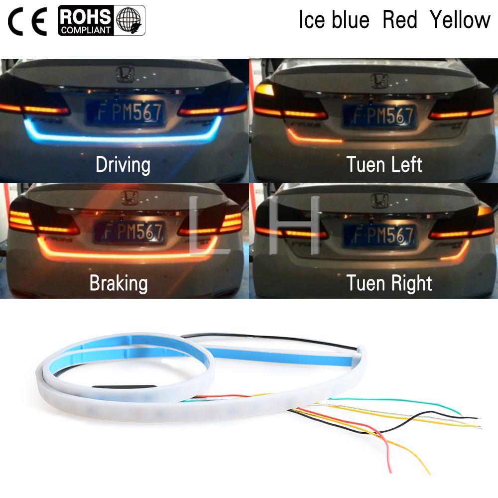 3 Color LED Car Tail Trunk Tailgate Strip Light <font><b>Brake</b></font> 120cm Driving Signal Knight trunk light car led light strip