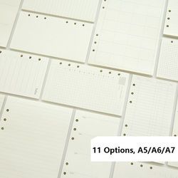 A5 A6 A7 Cahier à Feuilles mobiles Recharge Reliure En Spirale Planificateur Page Intérieure À L'intérieur Papier Laitiers Hebdomadaire Forfait mensuel À faire ligne Dot grille