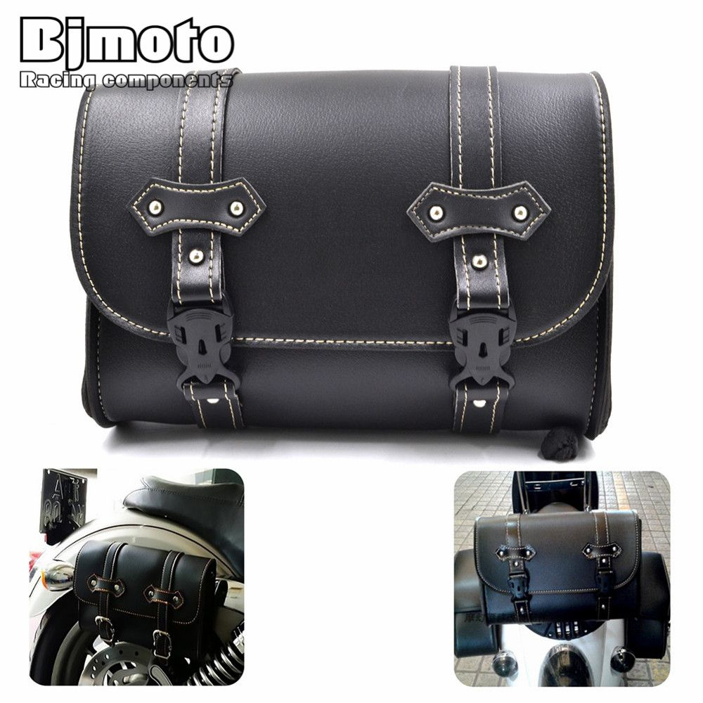 Motorcycle PU Leather Saddle Bag Luggage Storage Bag For Harley Sportster Softail Dyna Chopper