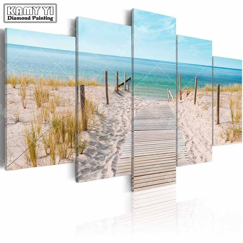 full square drill Diamond embroidery Seaside scenery 5D DIY diamond painting <font><b>Cross</b></font> Stitch Multi-picture home decoration