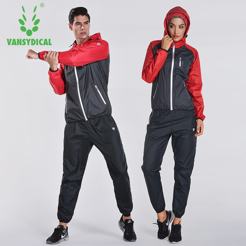 2018 VANSYDICAL Sweat Suit Womens Mens Sports Running Suits Fitness Lose Weight 2pcs Gym Sportswear Fitness Track Training Suits
