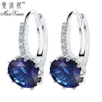 2018 Luxury Ear Stud Earrings For Women 12 Colors Round With Cubic Zircon Charm Flower Stud Earrings Women Jewelry Gift
