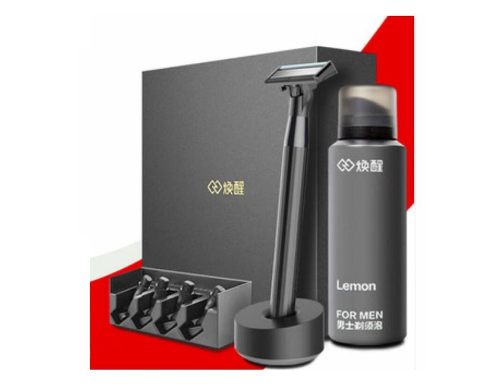 Original xiaomi mijia Men Razor 8 in 1 set German importing Shaving head lemon Shaving bubbles with Magnetic Replace the Clip