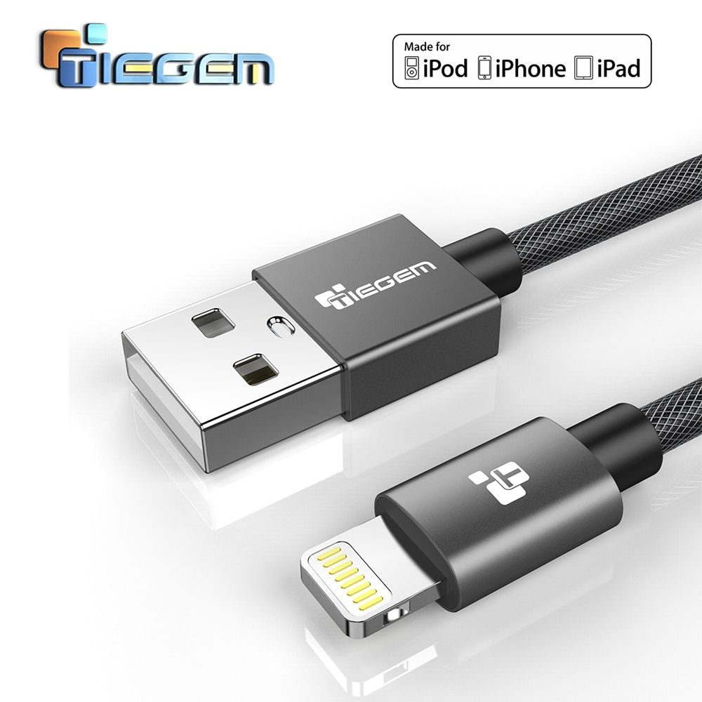 TIEGEM MFi Certified Lightning Cable for iPhone 7 6 5 Fast Charger USB Data Cable for iPhone 8 X 5 5S iPad iPod Charging Cord