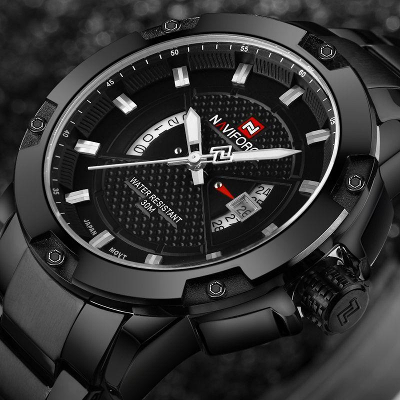 NAVIFORCE Mens Watches Top Brand Luxury Sport Quartz Watch 3ATM Waterproof Men's <font><b>stainless</b></font> steel Wrist watch Relogio Masculino