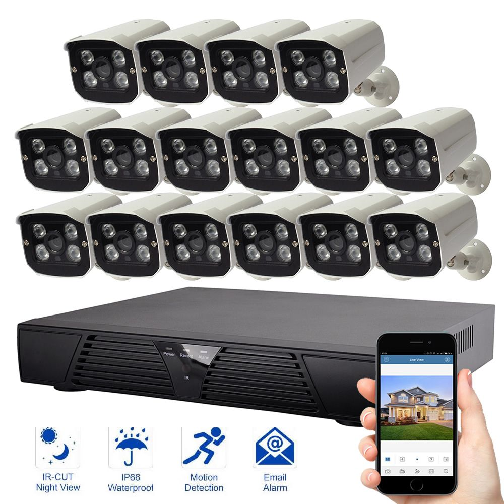 16CH IP Security System 16PCS IP Camera Video Surveillance 1080P System Night Vision Outdoor Waterproof Security Camera Kit
