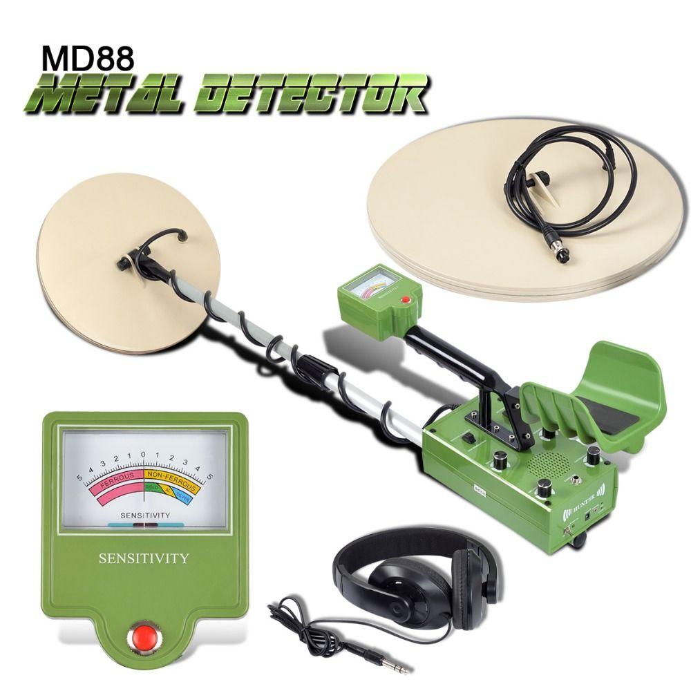 MD88 Suche Unterirdischen Metall Detektor Professionelle Gold Detektor Verdrahtung Schatz Hunter LCD Display Erkennen Tiefe 5 mt 2 Spulen