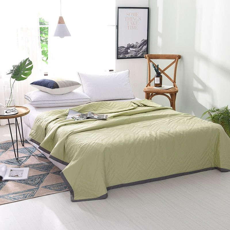 Grass <font><b>Green</b></font> Solid Color Quilted Gray Edging Bedding Summer Quilt Blankets Comforter Bed Cover Quilting Home Textiles Suitable