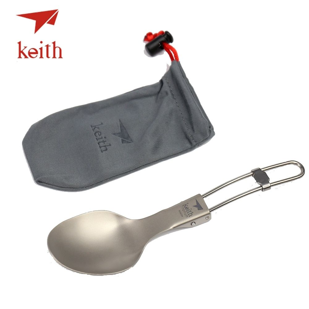 Keith Titanium Folding Spoon Portable Outdoor Camping Cutlery Travel Tableware Picnic Hiking Convenient Titanium Spoon Only 20g