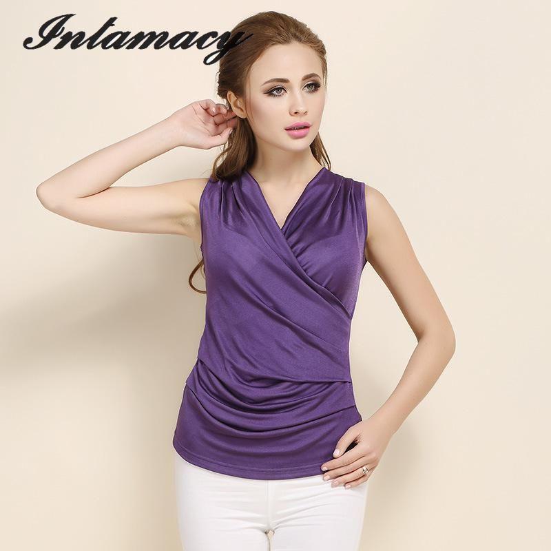 Silk Knitted Cross V Collar Sleeveless Vest, Pleated Bottoming T-shirt, 100% REAL Silk New