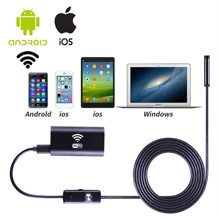 Wifi endoscope camera with Android & IOS Endoscopio 720p 6 LED 8mm Waterproof Inspection Borescope <font><b>Tube</b></font> Camera with 1-5M cable