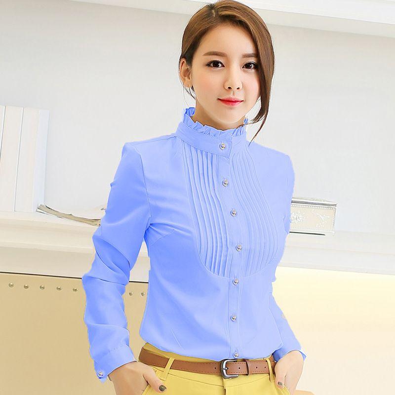 Nouveau printemps automne Femmes de profession à manches longues en mousseline de soie blouse blusas chemises femmes plus la taille de mode femmes vêtements féminins