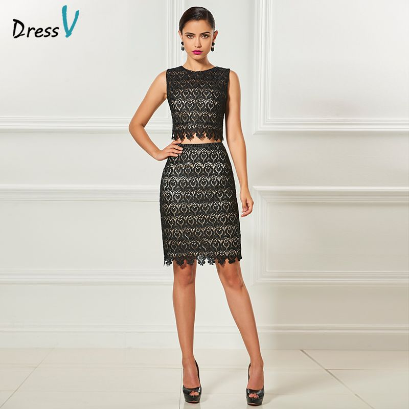 Dressv scoop neck two pieces cocktail dress beading sheath knee length sleeves elegant cocktail dress lace formal party dress