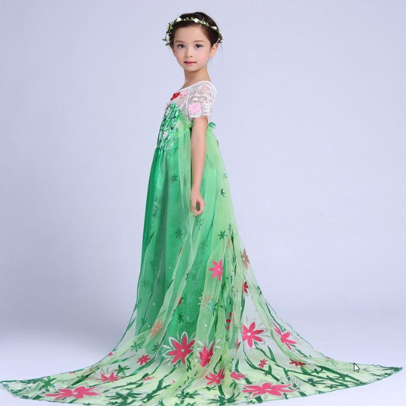 New Green Elsa Lace Dress Summer 2018 Elsa Anna Princess Dress Vestido Elsa Fever Dress for Kids Girl Fantasia Dress