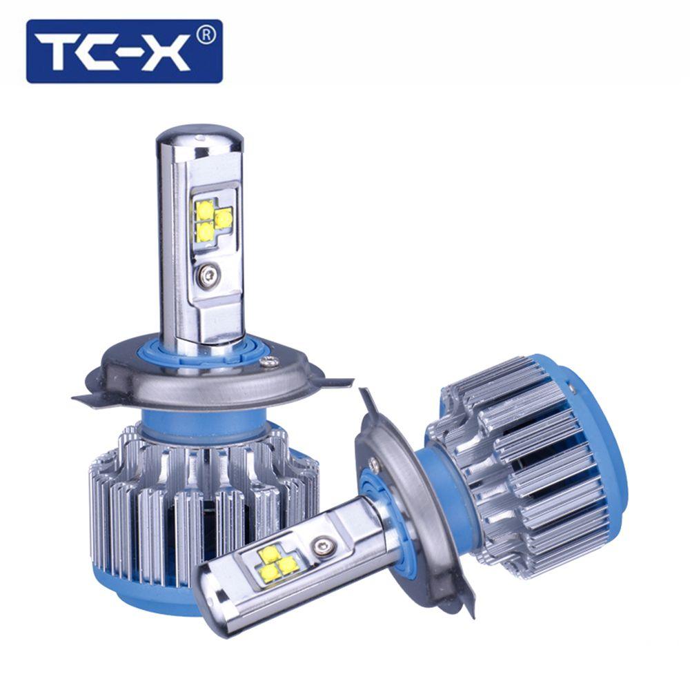 TC-X 2 лампы/комплект Свет автомобиля H4 Hi Lo луч светодиодные фары лампы H7 H1 H11 9006 9005 H27/880 авто лампы фары 6000 К свет