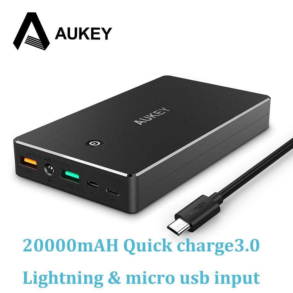 Aukey carga rápida 3.0 Baterías portátiles 20000 mAh carga rápida dual USB batería externa portátil para el iPhone Samsung xiaomi powerbank