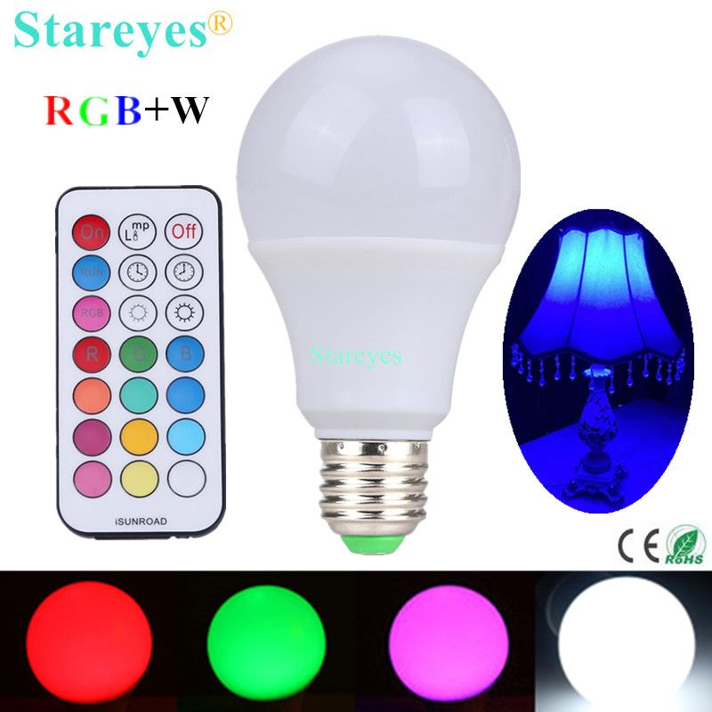 1 Piece E27 10W RGBW LED Bulb Dimmable ball Light RGB W LED desk Lamp downlight droplight lighting with Remote Controller