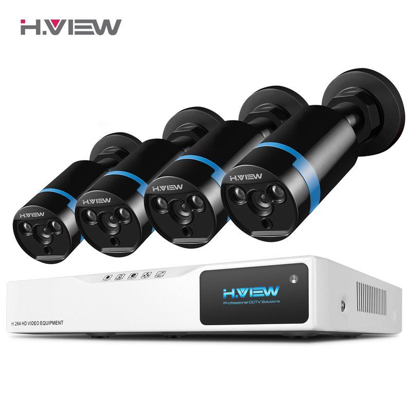 <font><b>H.VIEW</b></font> Security Camera System 8ch CCTV System 4 1080P CCTV Camera 2.0MP Camera Surveillance Kit 8ch DVR 1080P HDMI Video Output