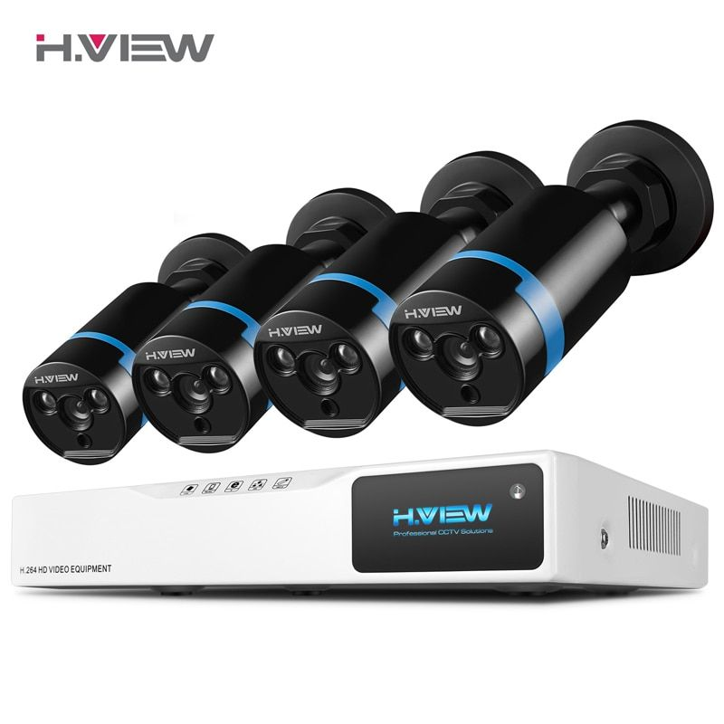 H.<font><b>VIEW</b></font> Security Camera System 8ch CCTV System 4 1080P CCTV Camera 2.0MP Camera Surveillance Kit 8ch DVR 1080P HDMI Video Output