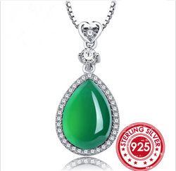 Snh uniquegreen emerald pendant kalung nyata 925 sterling silver jade kalung untuk wanita fashion jewelry