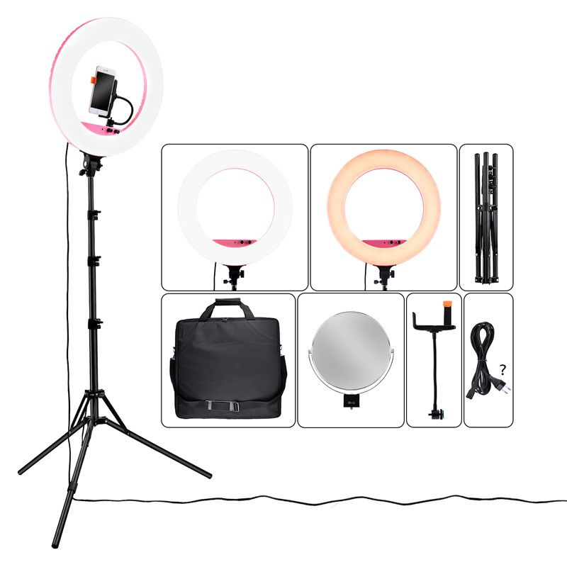 fosoto 18 inch LF-R480 Bi-color photographic lighting 3200-5800K 80W Led Ring LIght Lamp& Tripod Stand Mirror For Phone Camera
