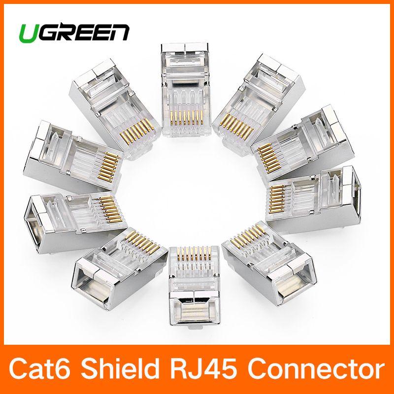 Ugreen Cat6 RJ45 Stecker 8P8C Modulare Ethernet Kabel Kopf Stecker Gold-überzogene Katze 6 Crimp Netzwerk RJ 45 Stecker cat6