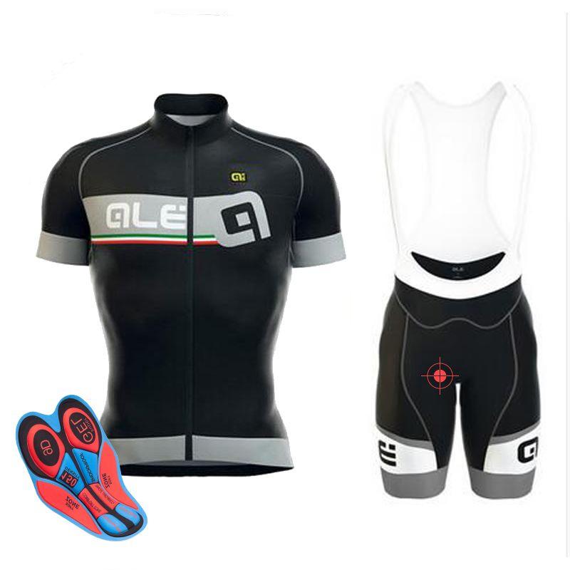 2017 Ale Cycling Jersey set Man Short Sleeve Breathable ropa Ciclismo Mountain Bike shirts bicycle bib shorts 9D gel pad
