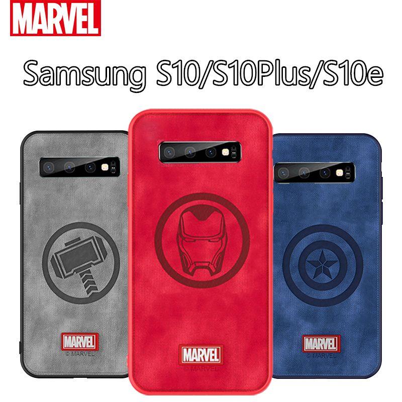 Original Coque Marvel Thor Téléphone étui pour samsung Galaxy S10e Captain America Tissu Couverture Arrière Antichoc Pour Galaxy S10 Plus