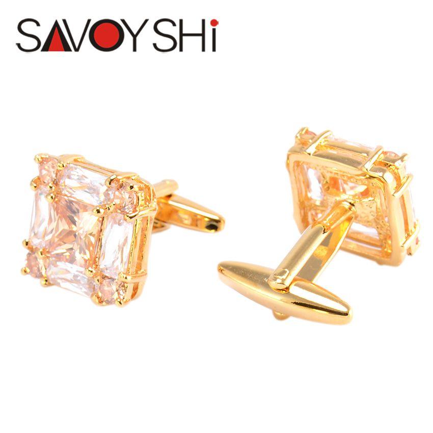 SAVOYSHI Luxury Zircon Cufflinks for Mens Shirt Cuff Accessories High Quality Square Cufflinks Fashion Brand Men Jewelry Design