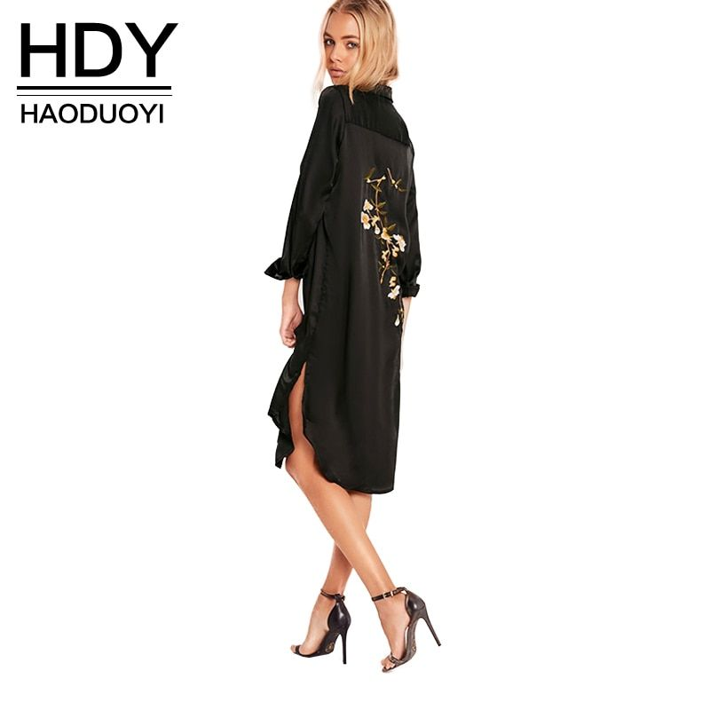 HDY Haoduoyi Women Black Embroidery Shirt Dress Casual <font><b>Button</b></font> Down Loose Fit Party Dress Long Sleeves Split Office Work Dress