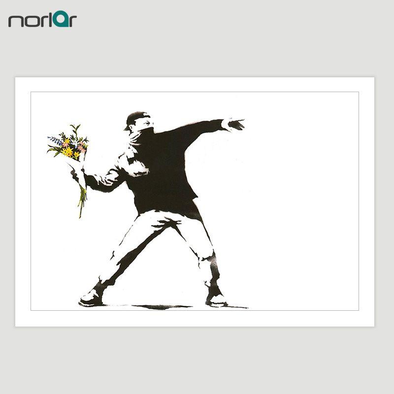 HD Imprimé Bansky Rue Art Graffiti Banksy Lanceur de Fleur Toile Peinture Affiche Wall Art Image Home Decor NO Frame