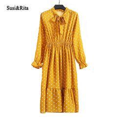 Susi et Rita Imprimé floral Robe D'été Femmes 2018 À Manches Longues Casual Robe En Mousseline Vintage Boho Robes Robes Robe Femme