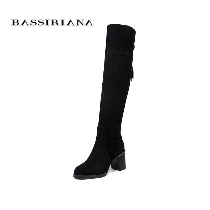 BASSIRIANA Neue Über-die-knie Echtes leder stiefel frauen Winter schuhe frau Schwarz Grau wildleder Zip 35- 40 hohe qualität
